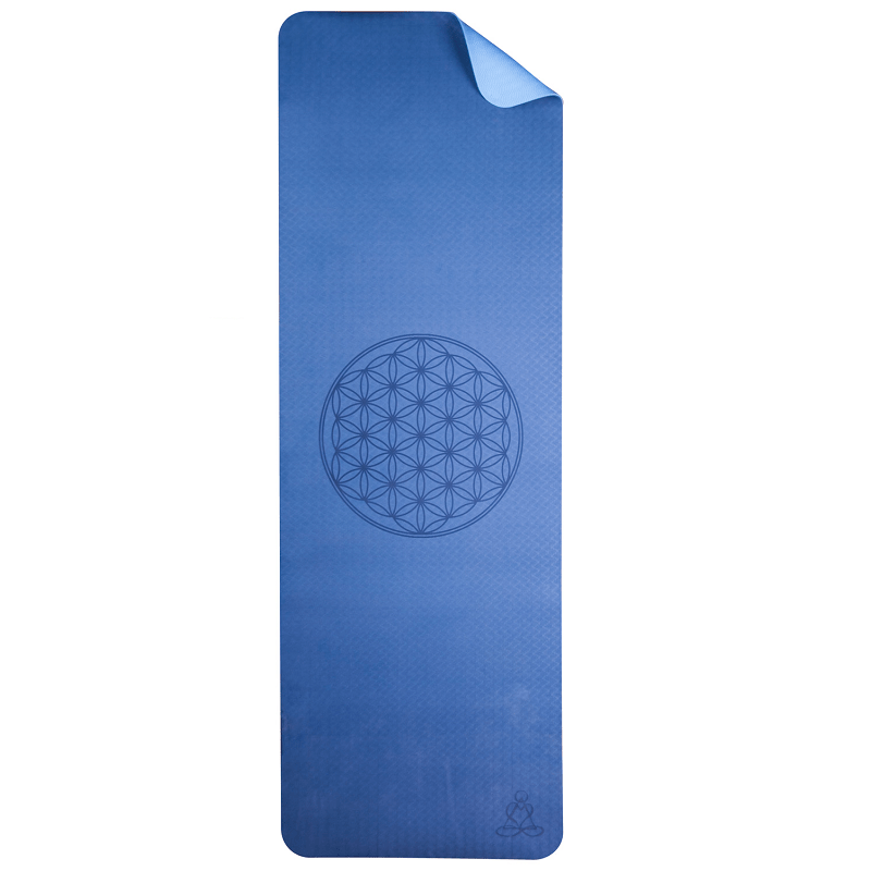 Yoga mat ecofriendly blauw met flower of life