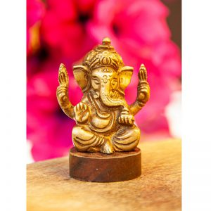 Ganesha messing acaciahout